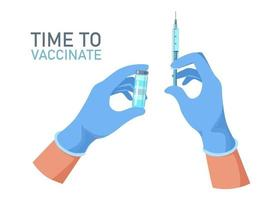 médico as mãos com luvas médicas segurando o frasco da vacina e a seringa. vetor