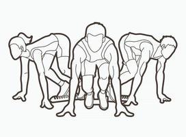 grupo de pessoas executando o contorno do corredor de maratona vetor