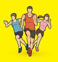 grupo de pessoas correndo corredor de maratona vetor