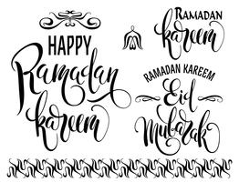 Ramadan Kareem. Conjunto de logotipos do Ramadã