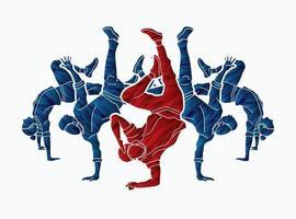 silhueta grupo de dançarinos dançando dança de rua vetor