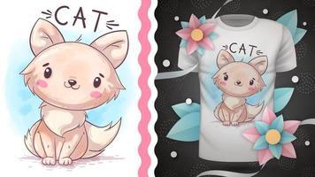 personagem de desenho animado bonito animal de estimação gato vetor