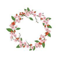 Coroa de Rosa Mosqueta. moldura redonda, lindas flores rosa rosa frutas vermelhas vetor