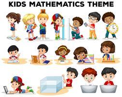 Crianças resolvendo problemas de matemática vetor