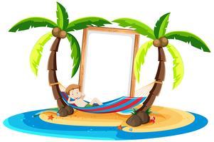 Um, menino, descansar, coco, árvore vetor