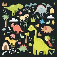 conjunto de dinossauros carnívoros e herbívoros fofos vetor