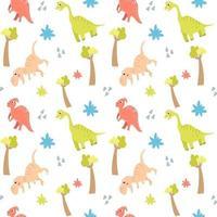 padrão sem emenda com dinossauros bonitos e árvores em um fundo branco. vetor