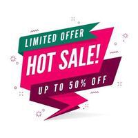 modelo de banner de oferta limitada de venda quente em estilo simples. vetor