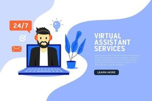 design plano de banner de serviços de assistente virtual online. vetor