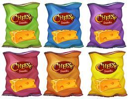 Petiscos de queijo em sacos de seis cores vetor