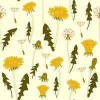 mão desenhada flores dente de leão. ilustração padrão sem emenda. vetor