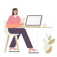 uma mulher dirige um podcast ou videoblog sentada em fones de ouvido em um laptop vetor