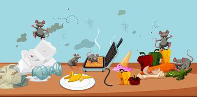 Uma cozinha e um rato insalubres vetor