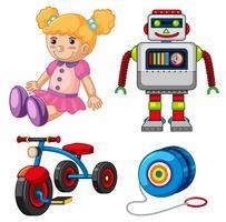 Boneca e outros brinquedos no fundo branco vetor