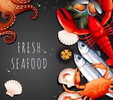 Conjunto de frutos do mar frescos vetor