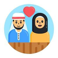 casal árabe e parceiros vetor