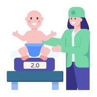 balança de peso de bebê vetor