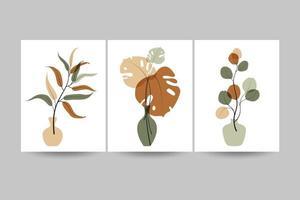 conjunto de composições com folhas. vetor