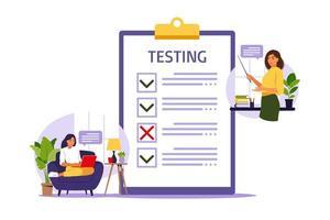 conceito de exame online na internet. mulher sentada perto do formulário online. vetor