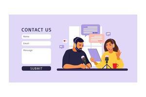 contacte-nos modelo de formulário para web. pessoas gravando podcast em estúdio vetor