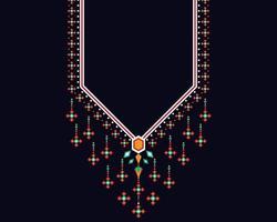 padrão oriental étnico geométrico. projeto do bordado do colar. vetor