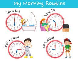 Gráfico mostrando diferentes rotinas matinais vetor