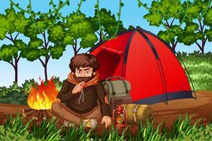 Homem, acampamento, em, a, madeiras vetor