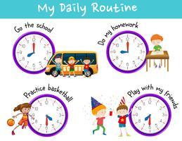 Rotina diária para crianças com relógio e atividades vetor