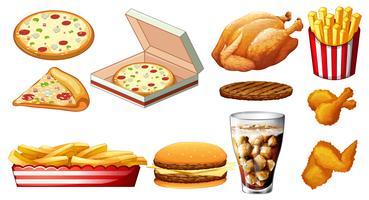 Diferentes tipos de fastfood e bebida vetor