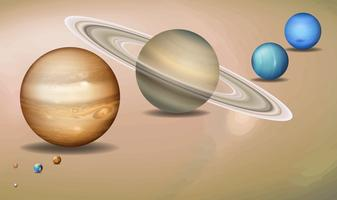 Conceito tridimensional do sistema solar vetor