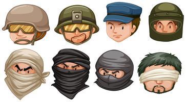 Rostos de terroristas e soldados vetor