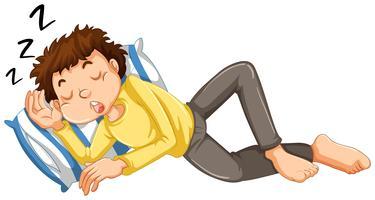 Menino tirando uma soneca vetor
