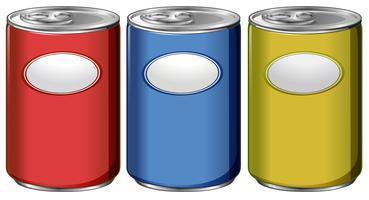 Três latas com rótulos de cores diferentes vetor