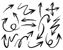 Doodles setas em diferentes formas vetor