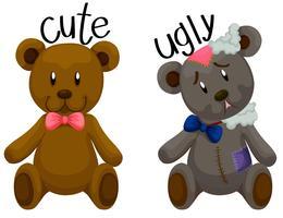Urso de peluche bonito e urso de peluche feio vetor