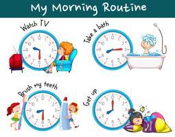 Rotinas matinais diferentes em diferentes momentos vetor