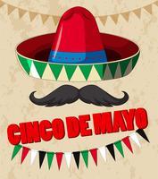 Design de cartaz de cinco de mayo com chapéu mexicano vetor