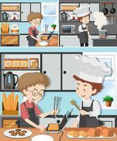 Um homem na aula de culinária vetor