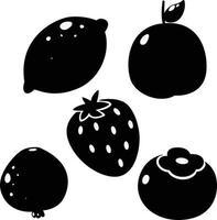 limão, pêssego, caqui, fruta romã, ilustração de morango vetor