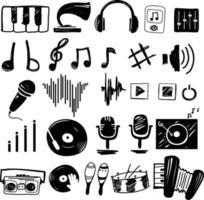 ilustração conjunto de ícones da música vetor