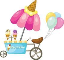 barraca de carrinho e ilustração de sorvete vetor