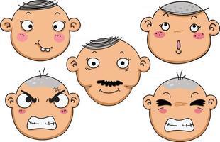 ilustração de diferentes expressões faciais isoladas de um menino vetor