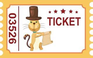 ilustração de gato de circo de bilhete isolado vetor