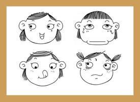 ilustração de diferentes expressões faciais isoladas de uma garota vetor
