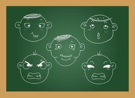diferentes expressões faciais de um quadro negro de menino vetor
