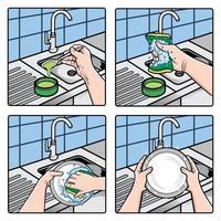 ilustração de mãos lavando pratos com esponja e água com sabão vetor
