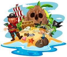 Pirata e garotinho na ilha do tesouro vetor