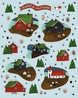 feliz outono texto de helicóptero, conjunto de casas de madeira vermelhas e pretas vetor