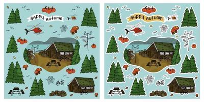 casa de madeira helicóptero árvores floresta inscrição feliz outono vetor