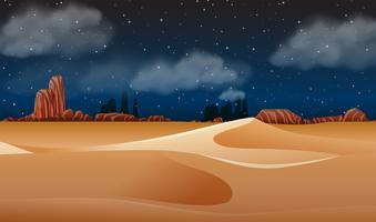 Uma paisagem do deserto à noite vetor
